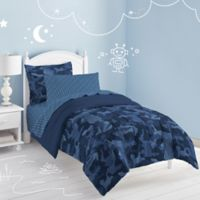 Camo Reversible 7-Piece Full Comforter Set in Blue