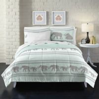 Boho Elephant Twin Comforter Set in Light Blue