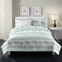 Boho Elephant Full Comforter Set in Light Blue