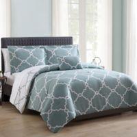 MHF Home Allyson Gatework Reversible King Comforter Set in Blue