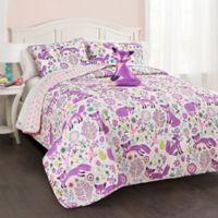 Lush Décor Pixie Fox Reversible Twin Quilt Set in Purple