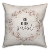 "Designs Direct ""Be Our Guest"" Square Throw Pillow in Pink"