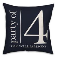 "Designs Direct ""Party of 4"" Square Throw Pillow in Blue"