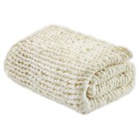 Madison Park Chunky Double Knit Throw Blanket in Ivory