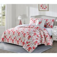 Fancy Flamingo Reversible Full/Queen Quilt Set in Coral