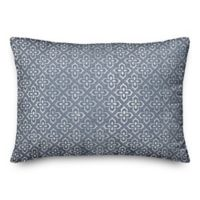 Designs Direct Distressed Tile Oblong Throw Pillow in Blue