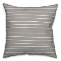 Designs Direct Drawn Stripe Square Throw Pillow in Grey