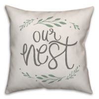 Designs Direct Our Nest Wreath Square Throw Pillow in Grey