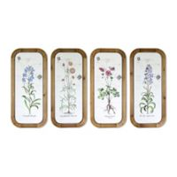 Floral Plaque Metal Wall Art in White/Brown (Set of 4)