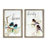 Bird Canvas Wall Art in White/Brown (Set of 2)