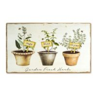 Potted Herb Wood Wall Art in Tan/Green