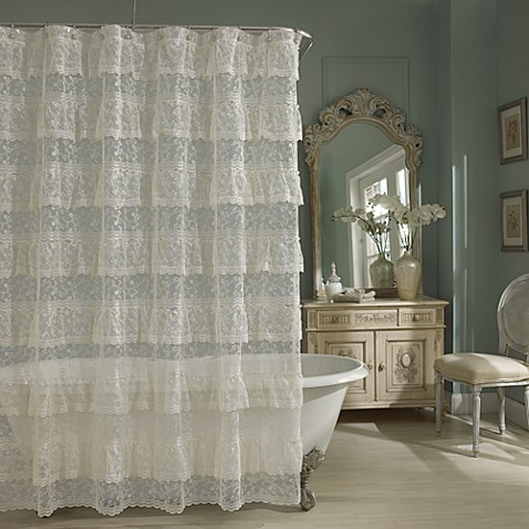 Priscilla Lace Shower Curtain in Ivory