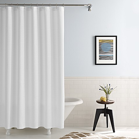 Real SimpleR Shower Curtain In Linear White