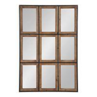 Kate and Laurel Norgard Windowpane Wall Mirror in Rustic Brown