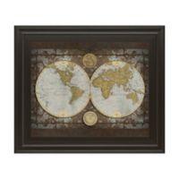 Classy Art Elizabeth Medley World Map 26-Inch x 22-Inch Framed Wall Art