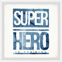 Marmont Hill Blue Superhero in Training Sign 12-Inch Squared Framed Wall Art