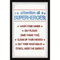 Marmont Hill Superhero House Rules 8-Inch x 12-Inch Framed Wall Art