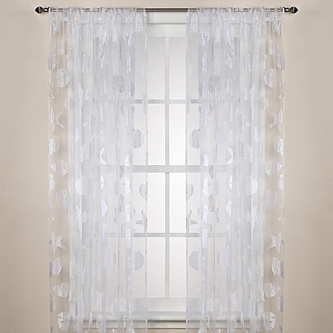 Nantucket Sheer Rod Pocket Window Curtain Panels Bed