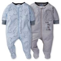 Gerber® Preemie 2-Pack Bear Sleep 'n Play in Blue/Grey