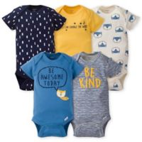 Gerber® Onesies® Size 3-6M 5-Pack Fox Bodysuits in Gold/Blue