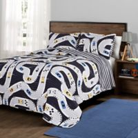 Lush Décor Car Tracks Reversible Twin Quilt Set in Navy