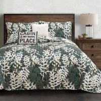 Lush Décor Camouflage Leaves Reversible Full/Queen Quilt Set in Green