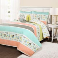 Lush Décor Owl Stripe Reversible Twin Quilt Set in Coral
