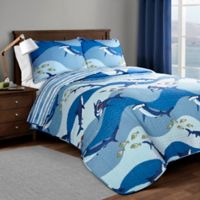 Lush Décor Shark Reversible Twin Quilt Set in Blue