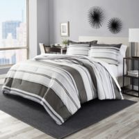Perry Ellis® Rowan Stripe King Comforter Set in Grey