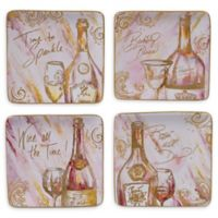 Certified International Wine All the Time Square Appetizer Plates (Set of 4)
