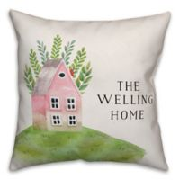 Designs Direct Watercolor Home Square Throw Pillow in Pink/Green