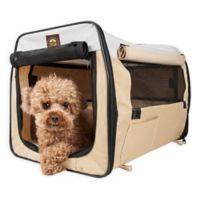 Easy Folding Zippered Medium Pet Crate in Khaki