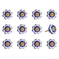 Taj Hotel Hand-Painted Ceramic 12-Piece Knob Set in White/Blue