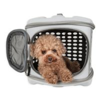 Pet Life™ Circular Shell Perforate Collapsible Pet Carrier in Grey