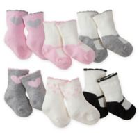 Gerber® Size 0-3M 6-Pack Wiggle-Proof Crew Socks in Pink/Grey