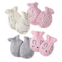 Gerber® Size 0-3M 4-Pack Bunny Mittens in Pink/Grey