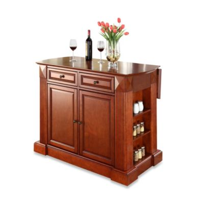 Crosley Furniture Hardwood Drop Leaf Breakfast Bar Kitchen Island In Cherry