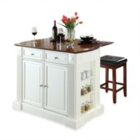 Crosley Drop Leaf Breakfast Bar Top Kitchen Island in White with Cherry Square Seat Stools