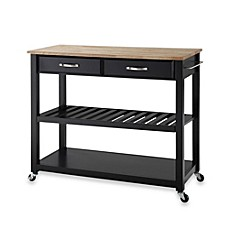 Crosley Natural Wood Rolling Top Kitchen Cart/Island With ...