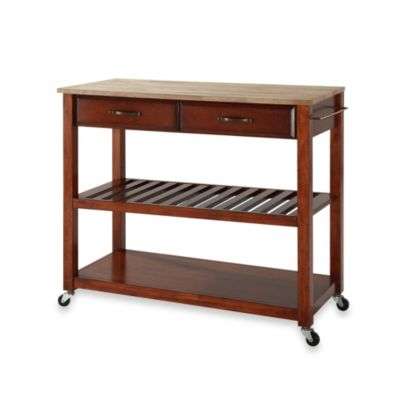 Crosley Natural Wood Top Rolling Kitchen Cart Island With Removable Shelf In Clic Cherry