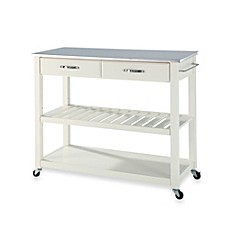 Crosley Stainless Steel Top Rolling Kitchen Cart Island With Removable Shelf