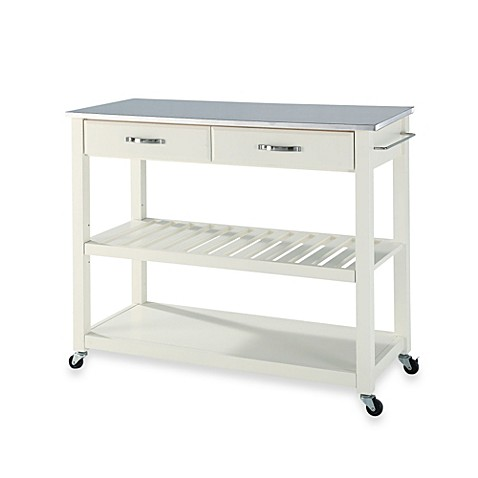 Crosley Stainless Steel Top Rolling Kitchen Cart Island