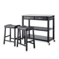 Crosley Stainless Steel Top Kitchen Rolling Cart/Island With Upholstered Saddle Stools in Black