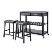 Crosley Granite Top Kitchen Rolling Cart/Island with Matching Upholstered Saddle Stools in Black