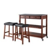 Crosley Granite Top Kitchen Rolling Cart/Island with Upholstered Saddle Stools in Classic Cherry