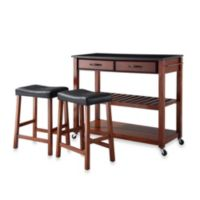 Crosley Solid Black Granite Top Rolling Kitchen Cart/Island With Upholstered Saddle Stools in Cherry