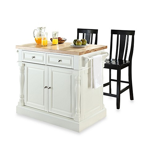 Crosley Butcher Block Top Kitchen Island With 24 Inch Shield Back Stools In White Black Bed