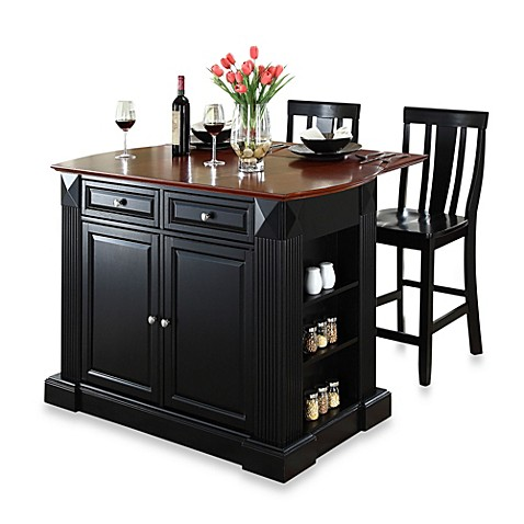 Crosley Drop Leaf Breakfast Bar Kitchen Island with 24-Inch Stools in Black