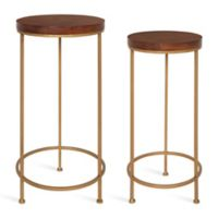 Kate and Laurel Espada 2-Piece Nesting Tables in Walnut/Brown