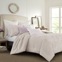 Laura Ashley® Claire Solid Embroidered Twin Comforter Set in Natural